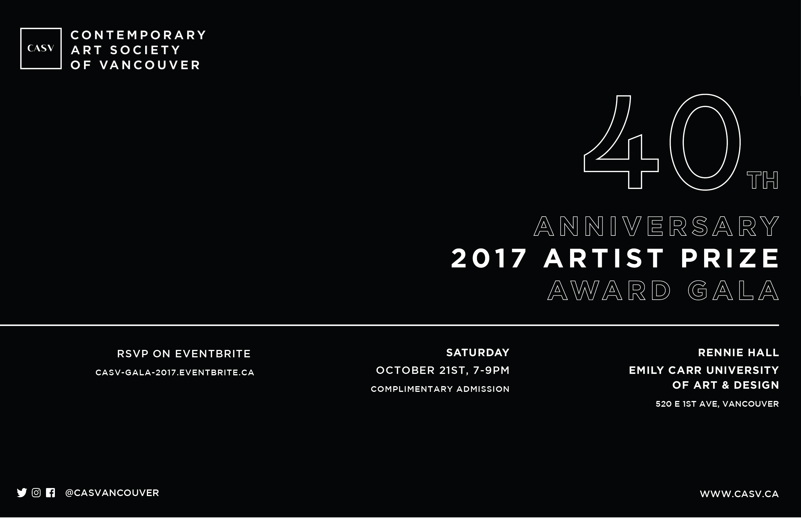 Contemporary Art Society of Vancouver 40th Anniversary Award Gala