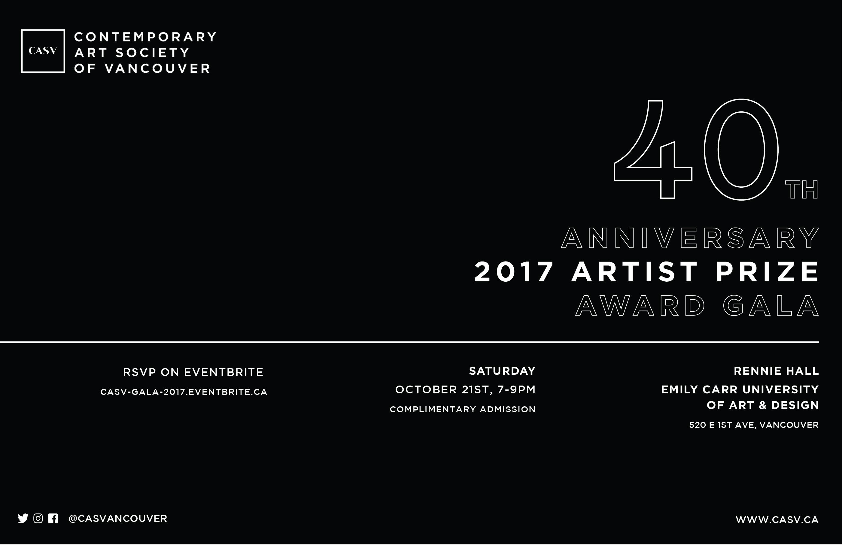 Contemporary Art Society of Vancouver 40th Anniversary Award Gala